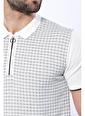 Wessi Erkek Slim Fit Polo Yaka Fermuarlı Desenli Tişört Bej